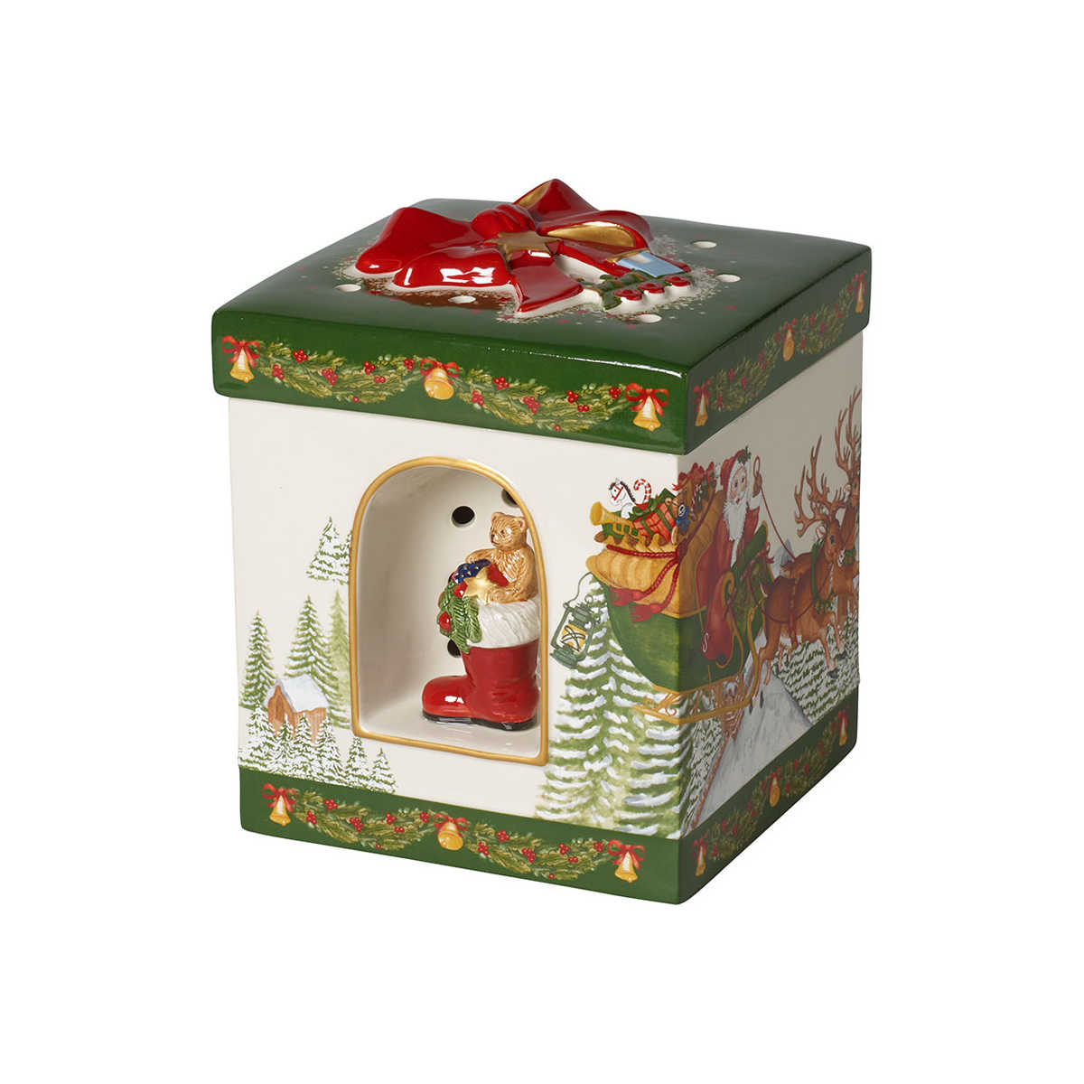 Villeroy & Boch Christmas Toys Geschenkpaket groß eckig Santa Claus - mit Spieluhr 'Santa Claus is coming to town' 16x16x20 cm | Kinderzimmer > Spielzeuge > Spieluhren | Villeroy & Boch