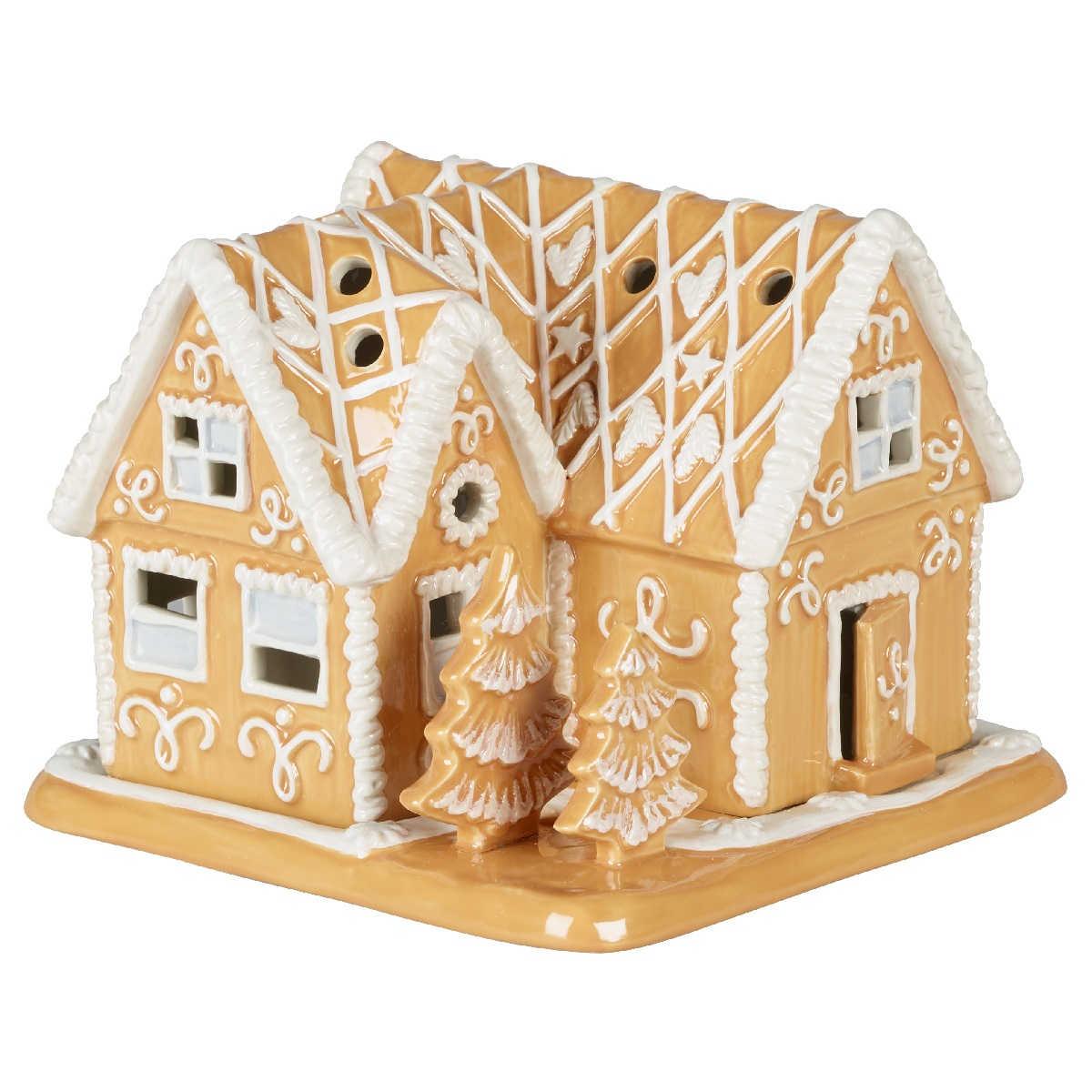 Villeroy & Boch Winter Bakery Decoration Lebkuchenvilla - mit 2 Teelichtern 16x16x13 cm | Dekoration > Kerzen und Kerzenständer > Teelichter | Villeroy & Boch