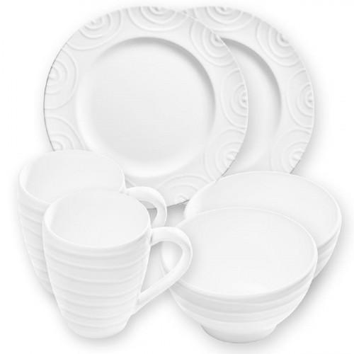Gmundner Keramik Weißgeflammt Hüttenfrühstück Gourmet für 2 Personen Set 6-tlg.