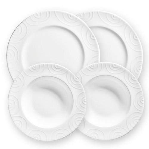 Gmundner Keramik Weißgeflammt Dinner Gourmet für 2 Personen Set 4-tlg.