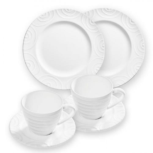 Gmundner Keramik Weißgeflammt Frühstück Gourmet für 2 Personen Set 6-tlg.