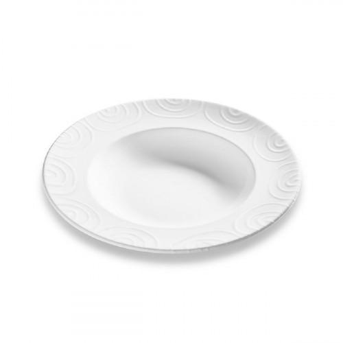 Gmundner Keramik Weißgeflammt Pastateller Gourmet d: 29 cm / h: 4,5 cm