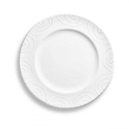 Gmundner Keramik Weißgeflammt Speiseteller Gourmet d: 27 cm / h: 2 cm