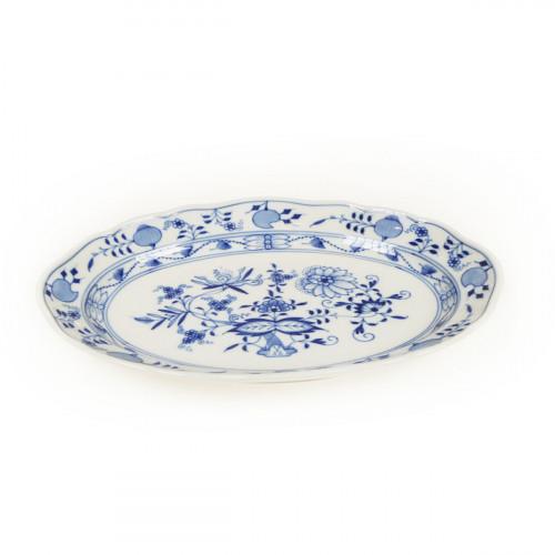 Meissen Zwiebelmuster kobaltblau - weißer Rand Platte oval 25 cm