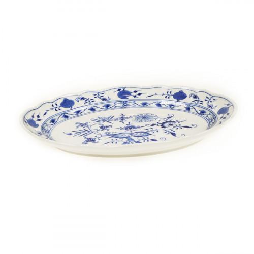 Meissen Zwiebelmuster kobaltblau - weißer Rand Platte oval 28,5 cm