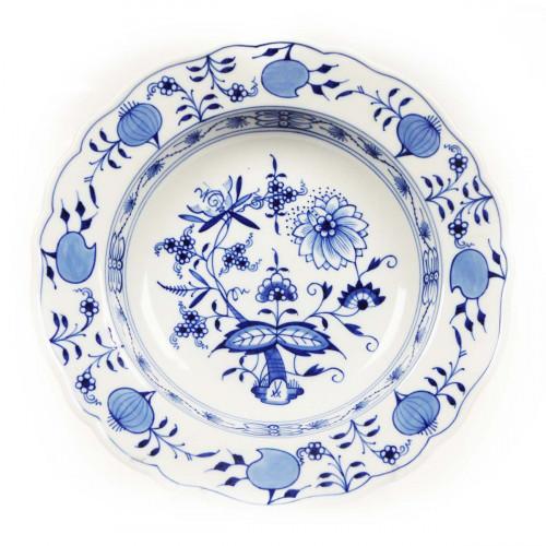 Meissen Zwiebelmuster kobaltblau - weißer Rand Suppenteller 22 cm