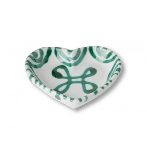 Gmundner Keramik Grüngeflammt Herzschale d: 10 cm / h: 2,4 cm