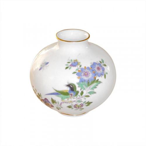 Meissen  'Neuer Ausschnitt - Indische Fels- Blumen- und Vogelmalerei 125 bunt mit Goldrand' Vase 10,5 cm