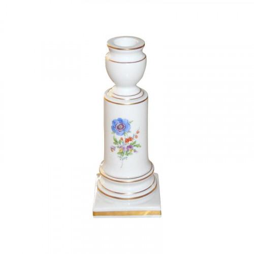 Meissen  'Neuer Ausschnitt - Blume 3 mitte bunt mit Goldrand' Leuchter 16 cm