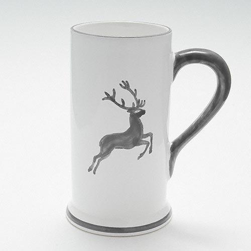 Gmundner Keramik Grauer Hirsch Bierkrug Form-A 0,5 l / h: 17 cm