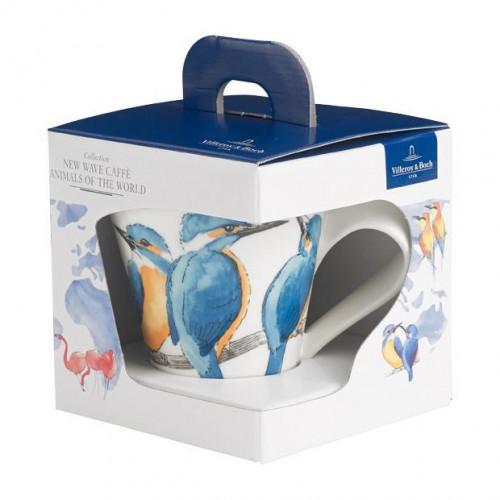 Villeroy & Boch New Wave Caffè Animals of the World - Eisvogel Becher mit Henkel in Geschenkverpackung 0,30 L