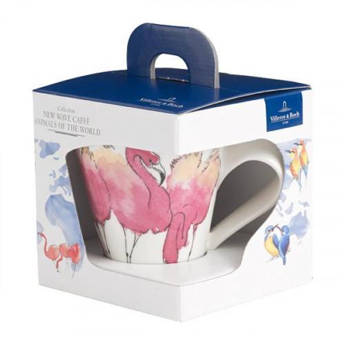 Villeroy & Boch New Wave Caffè Animals of the World - Rosa Flamingo Becher mit Henkel in Geschenkverpackung 0,30 L