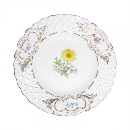 Meissen  'Neuer Ausschnitt - Blume 2 mitte bunt mit Goldrand' Teller mit Durchbruch 19 cm