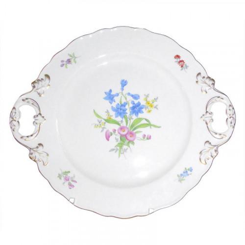 Meissen  'Neuer Ausschnitt - Blume 3 mitte bunt mit Goldrand' Platte mit 2 Henkeln 30 cm