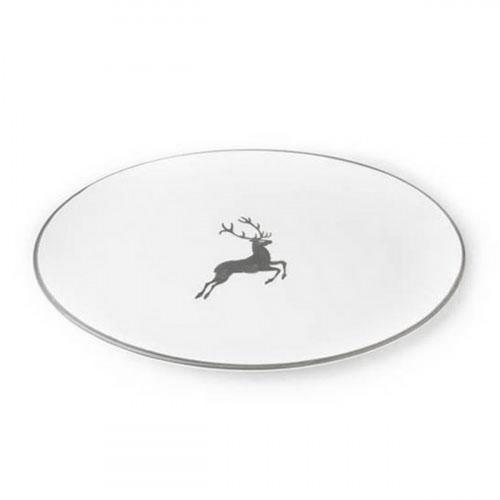 Gmundner Keramik Grauer Hirsch Platte oval 28x21x2,3 cm