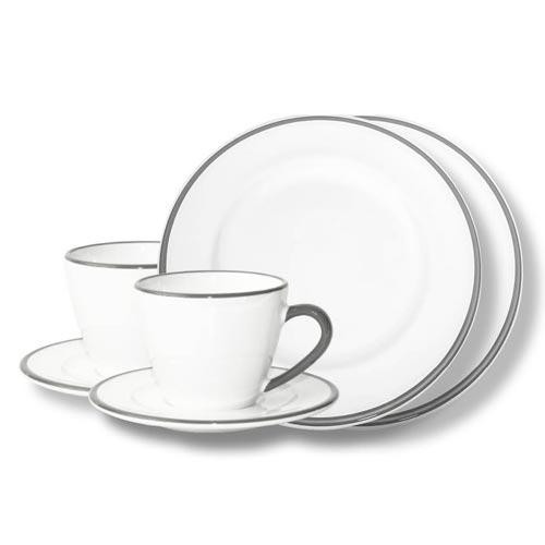Gmundner Keramik Grauer Rand Breakfast for two Gourmet