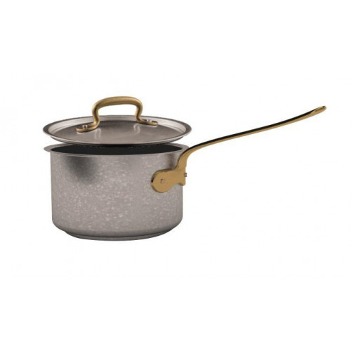 Sambonet 1965 Vintage - Edelstahl matt 18/10 Stielkasserolle hoch mit Deckel d: 16 cm / h: 9,5 cm / 1,9 L