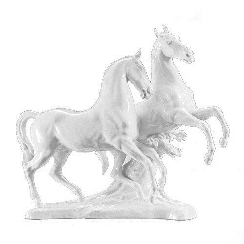 Hutschenreuther Pferdegruppe - 2 Pferde Übermut Pferd und Reiter - matt 36 cm hoch,43 cm breit