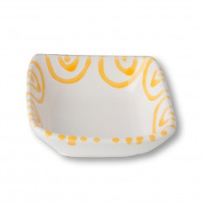 Gmundner Keramik Gelbgeflammt Schälchen quadratisch 9x9x3,4 cm