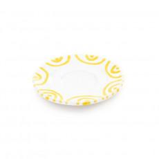 Gmundner Keramik Gelbgeflammt Mokka-/Espresso-Untertasse Gourmet d: 11 cm