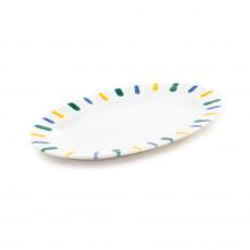 Gmundner Keramik Buntgeflammt Platte oval mit Fahne Gourmet 21x14x2,1 cm