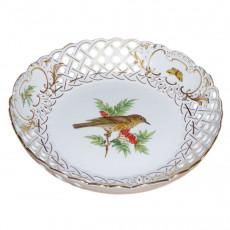 Meissen Neuer Ausschnitt - Vogel- und Insektmalerei leicht bunt mit Goldrand Schale mit Durchbruch 21 cm