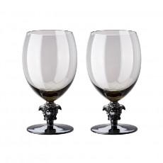 Rosenthal Versace Medusa Lumiere Haze Wasser Glas grau h: 188 mm / 474 ml Set 2-tlg.
