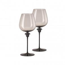Rosenthal Versace Medusa Lumiere Haze Rotwein Burgunder Glas grau h: 280 mm / 870 ml Set 2-tlg.