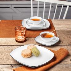 Seltmann Weiden Lido Black Line Tee-Set eckig, klein 18-tlg.