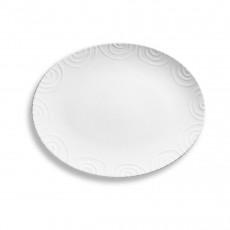 Gmundner Keramik Weißgeflammt Platte oval 33 cm