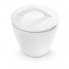 Gmundner Keramik Weißgeflammt Zuckerdose Gourmet d: 9 cm / h: 10,5 cm
