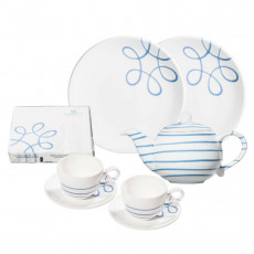 Gmundner Keramik Pur Geflammt Blau Starter-Set Tee 8-tlg.