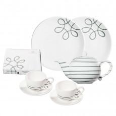 Gmundner Keramik Pur Geflammt Grau Starter-Set Tee 8-tlg.