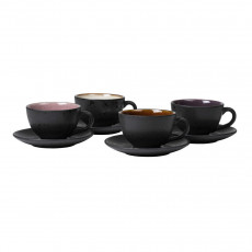 Bitz Gastro black / light Tasse 0,22 L mit Untertasse 10 cm Set 4-tlg.
