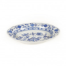 Meissen Zwiebelmuster kobaltblau - weißer Rand Beilagenschale oval 24 cm