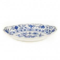 Meissen Zwiebelmuster kobaltblau - weißer Rand Beilagenschale oval 26x18 cm