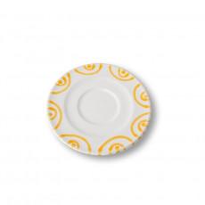 Gmundner Keramik Gelbgeflammt Cappuccino-Untertasse Gourmet d: 14 cm