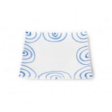 Gmundner Keramik Blaugeflammt Dessertteller / Frühstücksteller 20x20x2,6 cm