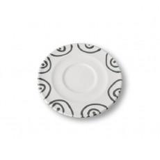 Gmundner Keramik Graugeflammt Cappuccino-Untertasse Gourmet d: 14 cm