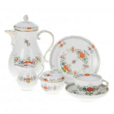 Meissen  'Neuer Ausschnitt - Indische Blumenmalerei zweiteilig bunt Kupferfarben mit Goldrand' Kaffeeservice 6 Personen 21-tlg.