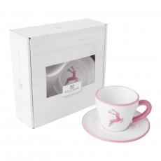 Gmundner Keramik Rosa Hirsch Espresso for you Set 2-tlg.