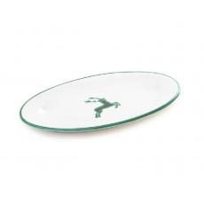 Gmundner Keramik Grüner Hirsch Platte oval mit Fahne Gourmet 21x14x2,1 cm