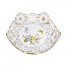 Meissen  'Neuer Ausschnitt - Blume naturalistisch bunt mit Schmetterling' Schale mit Druchbruch 18 cm