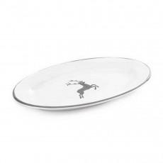 Gmundner Keramik Grauer Hirsch Platte oval mit Fahne Gourmet 21x14x2,1 cm