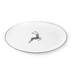 Gmundner Keramik Grauer Hirsch Platte oval 33x26x2,5 cm