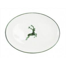 Gmundner Keramik Grüner Hirsch Platte oval 28x21x2,3 cm