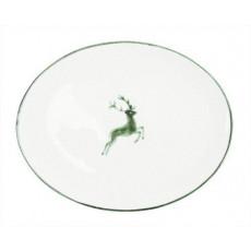 Gmundner Keramik Grüner Hirsch Platte oval 33x26x2,5 cm
