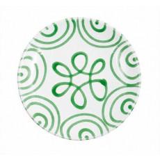 Gmundner Keramik Grüngeflammt Dessertteller / Frühstücksteller Cup d: 20 cm / h: 2,6 cm