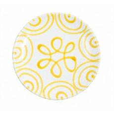 Gmundner Keramik Gelbgeflammt Dessertteller / Frühstücksteller Cup d: 20 cm / h: 2,6 cm