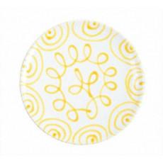 Gmundner Keramik Gelbgeflammt Speiseteller Cup d: 25 cm / h: 2,8 cm